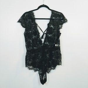 Black Lace deep V neck Lingerie body suit